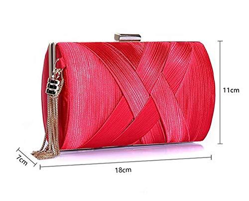 11 cm elegante vintage festa a e nuziale seta nuziale sera shop borsa per nappe donna He 18 frangia 7 × rosa mano retrò con vWf1wBWxqT
