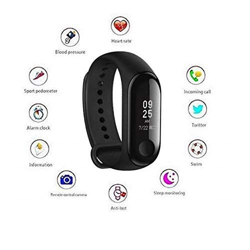 Shaarq M3 Intelligence Bluetooth Smart Bracelet Activity Tracker with Heart Rate Sensor for Smartphones