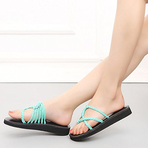Suave Plano Sandalias Casa Talón Sandalias Mujeres Nuevo Bajo Mujer Playa Verano y Zapatos Zapatillas Zapatillas Flops Estar Azul Chanclas 2018 por Flip Señoras Verano WINWINTOM de nUTPxYW