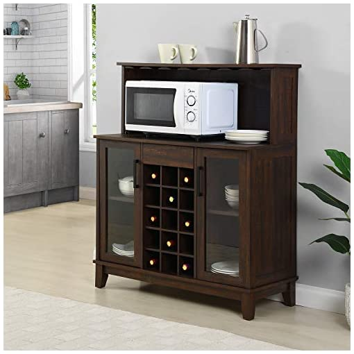 Home Bar Cabinetry Bar Cabinet with Wine Rack and Glass Doors (Mahogany) home bar cabinetry