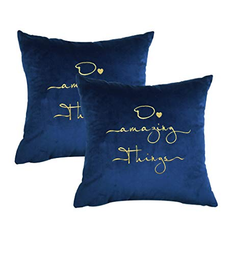 Sykting Decorative Pillow Covers Embroidered with Inspirational Quote Words Textured Velvet Pillow Covers for Home New Year Christmas Decorations Pack of 2 18x18 inch Royal Blue (Pillows Gold Blue Royal And)