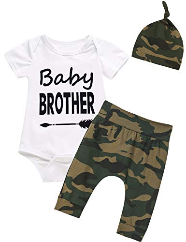 3PCS Baby Boy Outfit Set Baby Brother Dinosaur Tops Camouflage Pant Romper (White03, 12-18 Months)