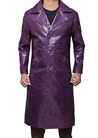 Suicide Squad Joker Jared Leto Crocodile Print Purple Long Coat at ...