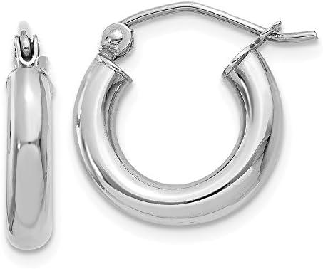 14K White Gold Earring Hoop WomenS 14 mm Polished 3Mm Lightweight Tube Earrings