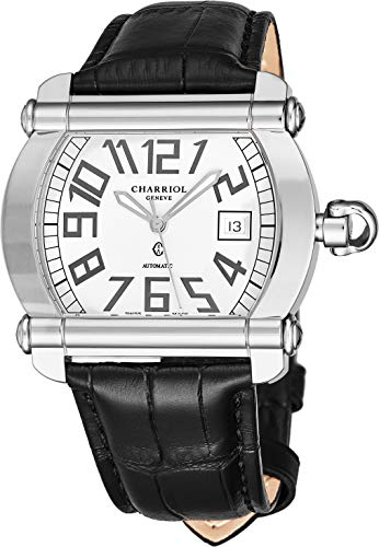 Charriol Actor Tonneau Mens Automatic Watch - Silver Face with Luminous Hands, Date and Sapphire Crystal - Stainless Steel Black Leather Band Swiss Made Watch CCHATXL.361.HATX002 (Tonneau Automatic Watch)