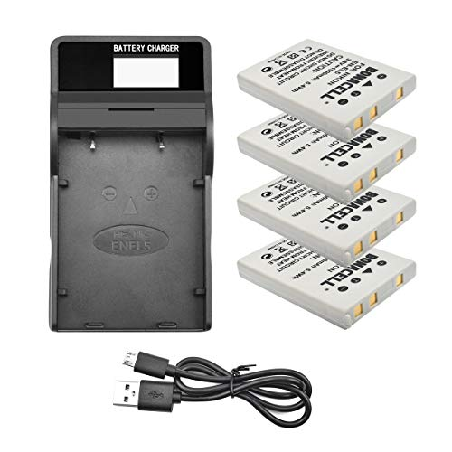 Bonacell 4 Pack Replacement Nikon EN-EL5 Battery and LCD Charger Kit for Nikon CoolPix 3700, 4200, 5200, 5900, 7900, P3, P4, P80, P90, P100, P500, P510, P520, P530, P5000, P5100, P6000, S10 (Nikon P500 Charger Coolpix)