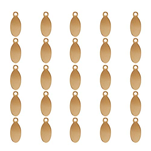 (PandaHall 100 Pcs 304 Stainless Steel Charms Oval Blank Stamping Tag Pendants Sets Smooth Surface for Bracelet Earring Pendant Charms Size 16x7x1mm)