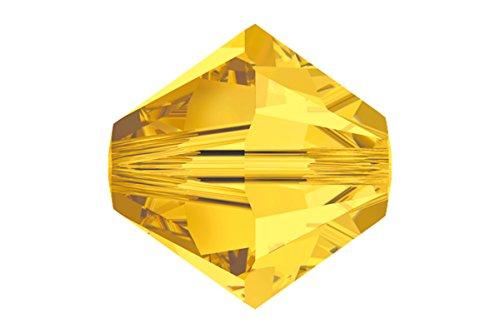 (12 pcs Swarovski Crystal Bicone 5301/5328 Beads, Light Topaz, 8mm )