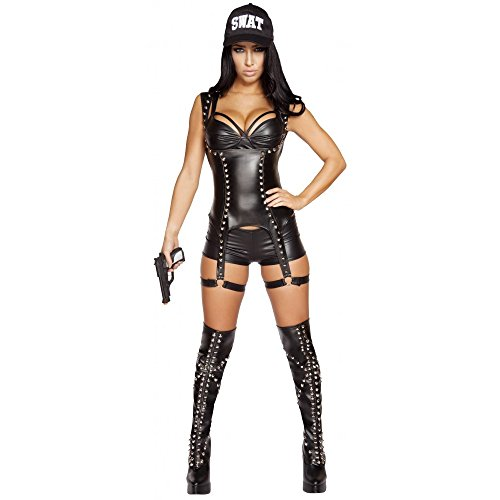 Sexy 3pc Women's Seductive SWAT Agent Cop Police Officer Costume (L) (Swat Agent Sexy Costume)