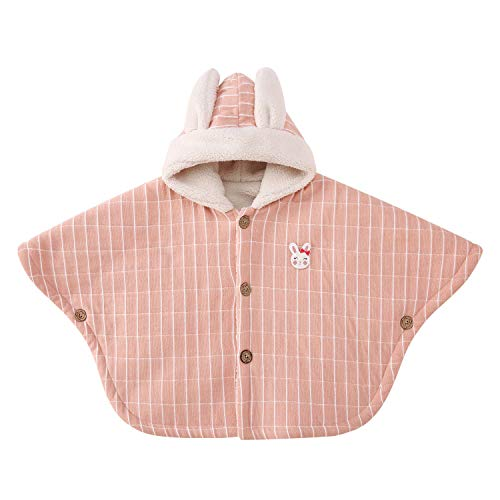 pureborn Baby Girls Hooded Poncho Cape Cloak Hoodie Fleece Coat Snowsuit Winter Outfit Pink 1-3 Years (Baby Cape Coat)