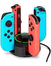 Molyhood Ladestation für Nintendo Switch Joy-Con, 4 in 1 Joy-Con Ladestation Dock mit individueller LED-Anzeige (Schwarz)