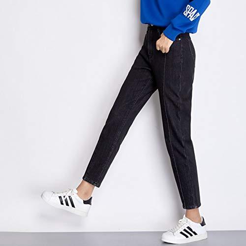 Nuovo Jeans Addensare Casual Donn Xxl Jean Harem Rlwfjxh Size Nero Enzima Loose Inverno Arrivo Pieghe Wash Plus 6l Donna Denim dE01q
