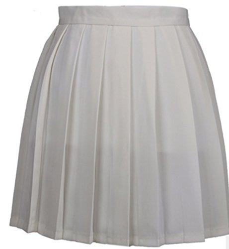 t Femme Haute Taille Mini Jupe Casual Fashion Couleur Unie Plisse Jupes de Soire Cocktail Party Gala Laiteux