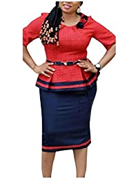 Tryist Women's Belted Office Work 2 Piece Plaid Shirt Jacket Skirt Suit