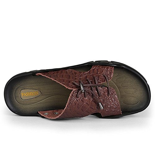 Británicas Para Hombre Palabra Casual De Y weifeng Marron Youth Zapatillas Cocodrilo Oscuro Playa Drag Sandalias Trend S7twWEqW