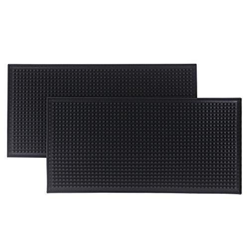 Bodian 612 Bar Mats Service Mat Black Rubber Mat bar supplies (2 pack) (pvc, 11.8x6)