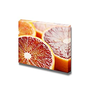 Canvas Prints Wall Art - Close Up of Halved Blood Orange Fruits Photograph | Modern Wall Decor/Home Decoration Stretched Gallery Canvas Wrap Giclee Print & Ready to Hang - 24