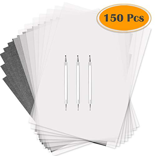 Selizo 150 Pcs Tracing Paper and Carbon Paper Black Graphite Transfer Paper with Tracing Stylus for Wood Burning Transfer, Wood Carving and Tracing ()