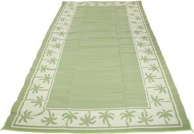 Outdoor Reversible Patio/RV Mat, 9ft. x 18ft. — Tropical, Green/Cream (Rv 9x18 Mat)