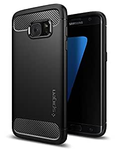 Spigen Rugged Armor Galaxy S7 Edge Case with Flexible and Durable Shock Absorption with Carbon Fiber Design for Samsung Galaxy S7 Edge (2016) - Black