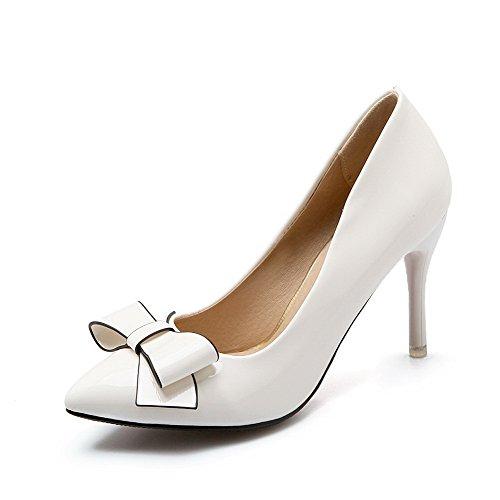 Su Donne Solidi Estraibili Puntati Pu calzature Weipoot Tacchi Pompe Chiusa Bianco Punta x7A7r6zXnW