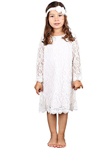 Bow Dream Flower Girl's Dress Off-White with Headband 6 ()