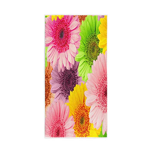(Semtomn 14 x 30 Inches Bath Towel Colorful Gerbera Gerber Flower Green Beautiful Blossom Botanical Bright Soft Absorbent Travel Guest Decor Hand Towels Washcloth for Bathroom(One Side Printing))