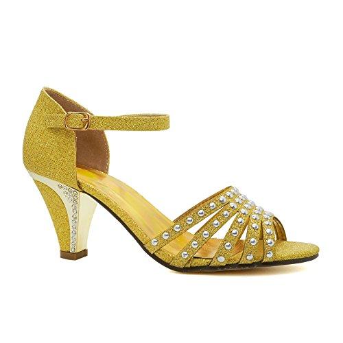 COOLCEPT Zapato Mujer Western Tacon Ancho medio Sin Cordones Mixed Colors Court Zapatos With Hebilla (35 EU, Brown)