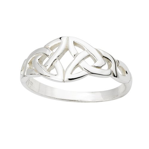Double Trinity Knot - Solvar Women's Trinity Knot Ring Sterling Silver Made in Ireland Size 7