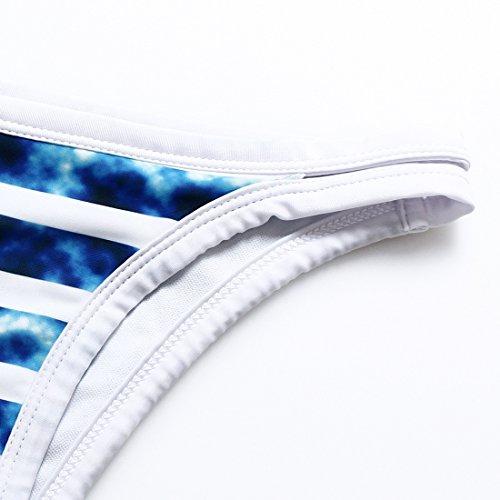 Erica Bikiní Halter de playa de las mujeres de dos piezas Set Swimsuit Blue Stripes Wireless Padded Bra Swimwear as picture