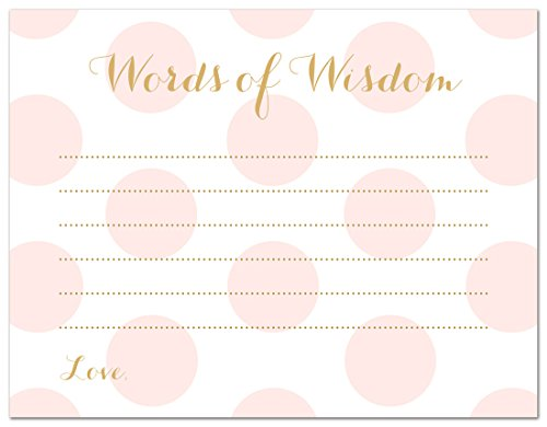 48 Polka Dots Gold Baby Shower Advice Cards (Pink)
