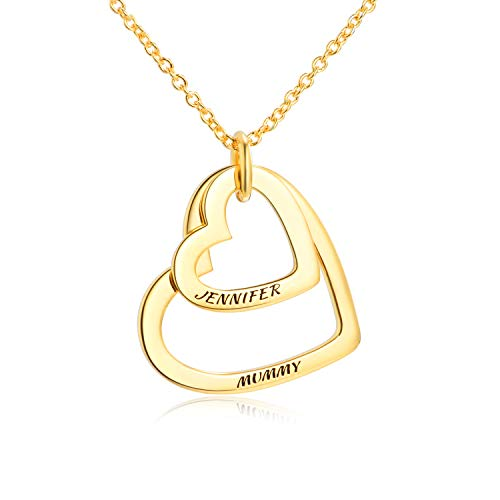 LONAGO Personalized 2 Names Necklace Custom Double Hearts Sterling Silver Copper Engraved 18K White Rose Gold Plated Pendant, Wedding Bridemaid Women Jewelry Gift (Gold-Plated-Copper) (Tag Heart Necklace Gold 18k)