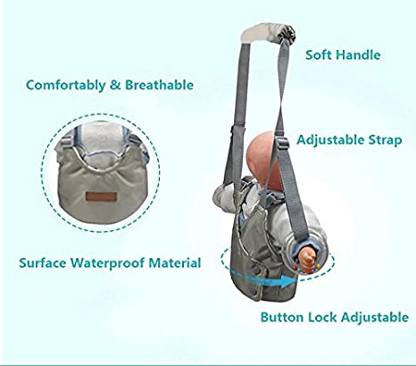 Handheld Baby Walker with Self-Adaptable Rings, Safety Baby Walking Learning Assistant Harness Toddler Practice Walk Helper for 7-24 Months Baby Boys ...