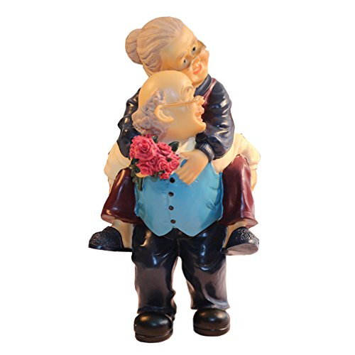 (DreamsEden Loving Elderly Couple Figurines, Old Age Life Resin Home Decoration with Gift Card for Anniversary Wedding (Piggyback))