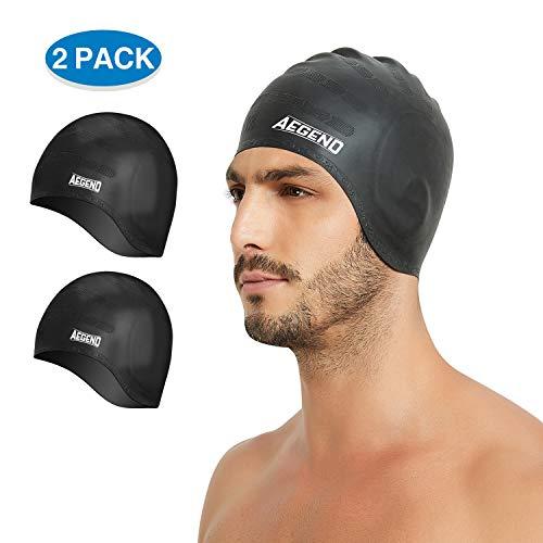 aegend 2 Pack Adult Swim Cap Cover Ears, Black Black