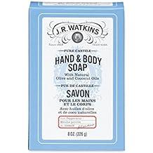 J.R. Watkins Castile Hand & Body Bar Soap, Peppermint, 8 ounce