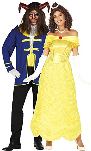 Couples Ladies and Mens Beastly Fairy Tale TV Movie Film Book Prince Princess Halloween Fancy Dress Costumes Outfits (Ladies UK 10-12 - Mens Medium)