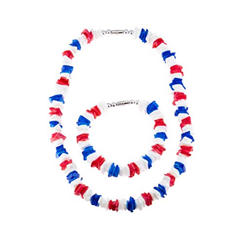 2 Piece Set ~ Red, White and Blue Puka Chip Shells Necklace & Bracelet (Shell Red Jewelry)
