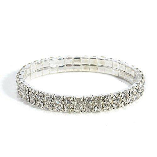 Silver rhinestone two Line Stretch Elastic Rhinestone Crystal Bracelet for Wedding Bridal/wholesale bracelet/ 2 Line Iridescent Rhinestone Stretchy Elastic Bracelet. Wedding Bridal Prom Jewelry. (Bracelets Wholesale Rhinestone)