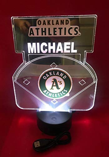 (Oakland Athletics MLB Baseball Mirror Stadium Light Lamp LED Remote Personalized Table Lamp, Our Newest Feature - It's WOW, With Remote 16 Color Options, Dimmer, Free Engraved Great Gift )