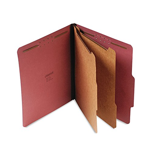 6 Section 10 Box (Universal Pressboard Classification Folder, Letter, 6-Section, Red, 10/Box)