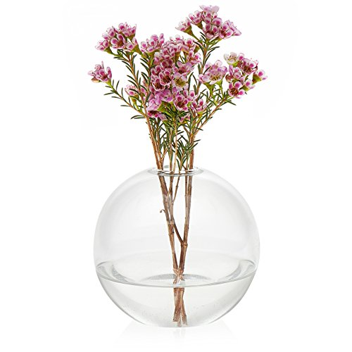 Prologue Orb Bud Vase Set, Handmade Glass Vases, 4.6 inch diameter by 4.6 inch height, Lead Free, 3-piece