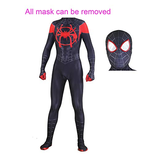 (MYanimec Unisex Lycra Spandex Halloween New into The Spider Verse Miles Morales Cosplay Costumes Adult/Kids 3D Style (Adult-XXL))