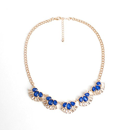 Replica Coin Cameo (HeyGirl Delicate Luxurious Alloy Stone Short Choke Flower Chain Statement Necklace(Blue))