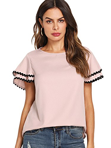 Floerns Women's Layered Ruffle Lace Trim Short Sleeve Blouse Tops Pink XS