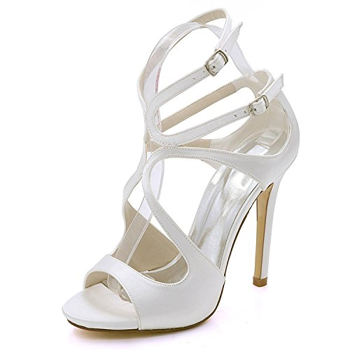 L@YC Women's High Heel 7216-06 Open Toe Satin Bridal Bridal Multi-Color Large Size 3-8 Court Shoes Ivory h2Jmm8