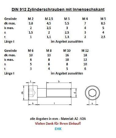 M8 x 18 10 St/ück Zylinderschrauben//Zylinderkopfschrauben mit Innensechskant DIN 912 V2A Edelstahl M4//M5//M6//M8//M10 //// EHK-Verbindungstechnik