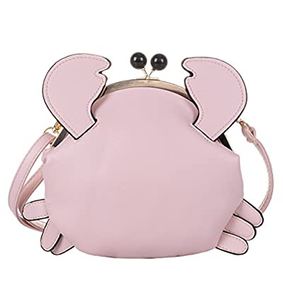 QZUnique Women's PU Crab Clasp Closure Tote Handbag Cute Satchel Cross Body Shoulder Bag