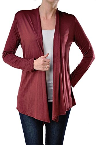 Viosi Women's Soft Comfortable Open Front Cardigan - Made in USA,Burgundy,Small