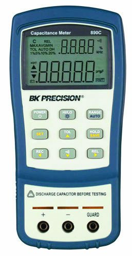 B&K Precision 890C Dual Display Handheld Capacitance Meter, 50 mF Max Range